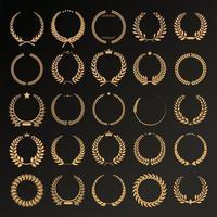 Collection of different laurel wreaths retro vintage design vector
