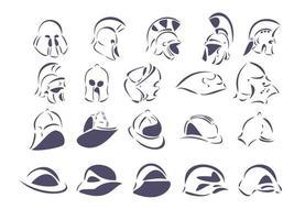 Twenty line-art vector illustrations of helmets