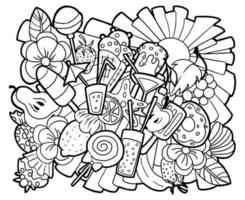 Summer vibes coloring page. Sun, ice cream and fruits doodles. vector
