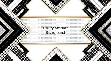 luxury rectangle abstract background design in black gold and white vector
