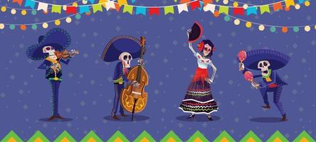 Dia De Los Muertos Characters Set vector