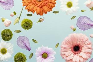 flores de gerbera de primavera con margaritas y hojas foto
