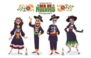 Dia De Muertos Costume Party Character Set vector