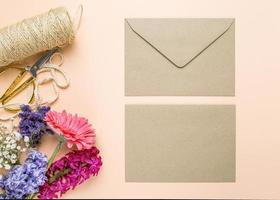 Wedding invitation with flowers photo