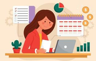 Woman Planning Her Business vector