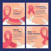 colección de redes sociales del día mundial del sida vector