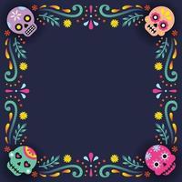 dia de los muertos frame background vector