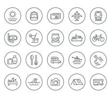 Travel, tourism line icons on white, recreation, journey, trip, tour, vacation, cruise, diving vector