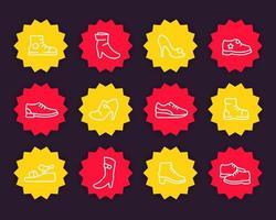 conjunto de iconos de línea de zapatos, zapatillas, botas hasta la rodilla, tacones, bomba de plataforma, zapatos abiertos vector