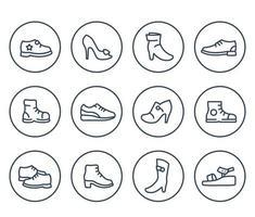 iconos de línea de zapatos en blanco, botas hasta la rodilla, tacones, bomba de plataforma, zapatos abiertos, zapatillas de deporte vector