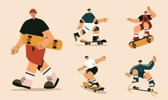 set of trick skateboards with various positions flat illustration vector