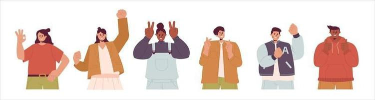A group of happy people with different positive gestures illustration vector