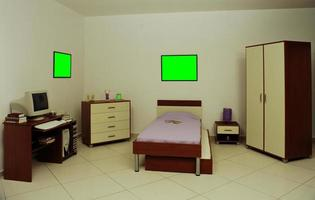 Desk, library, bed and wardrobe for children's rooms photo