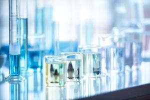 Medical laboratory test tube in chemistry biology lab test photo