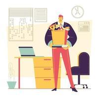 empleado obteniendo su ascenso a un nuevo escritorio de oficina vector