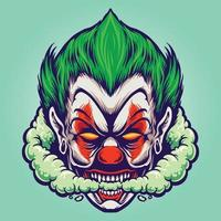 Head Joker Smoking Joint Cloud Illustrations vector