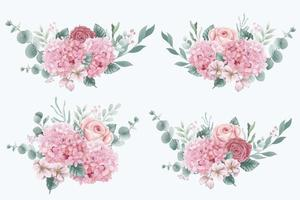Bouquets of Hydrangea and Roses Flowers vector