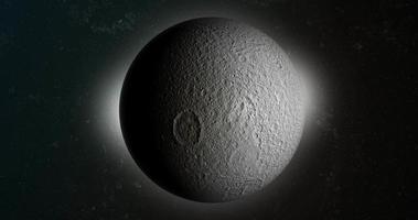 Satellite Tethys, Saturn's moon, in the outer space video