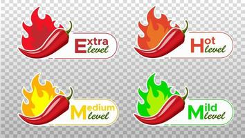 Icons with Chili Pepper Spice Levels. Hot pepper sign with fire flame for packing spicy food. Mild, medium and extra hot pepper sauce stickers. Vector illustration.