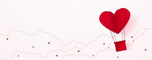 Valentine's day, love concept background, paper red heart shaped hot air balloon floating in the sky with cloud, blank space, paper art style vector