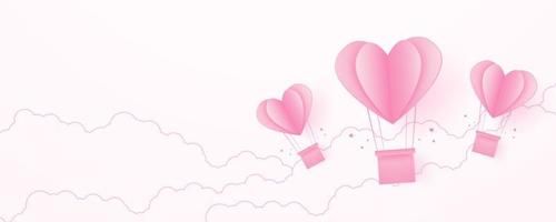 Valentine's day, love concept background, paper pink heart shaped hot air balloons floating in the sky with cloud, blank space, paper art style vector