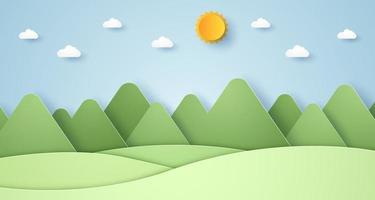 Nature hill and mountain with sun and sky, paper art style vector