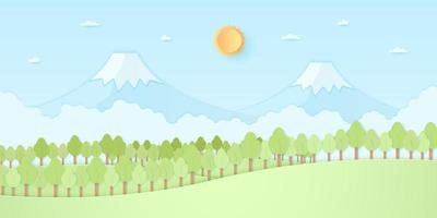 Nature hill, mountain, trees with sun and blue sky, paper art style vector