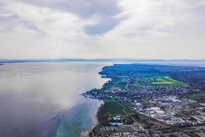 Lake Constance or Bodensee aerial panorama in Germany photo