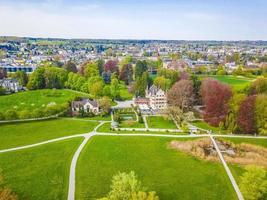 Drone landscape panorama from above of Seeburgpark in Kreuzlingen, Switzerland photo