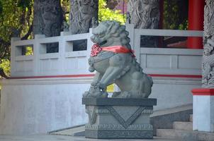 Chinese guardian lion statue,Guarding the gate photo