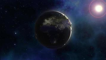 3D space background with Earth in nebula sky photo