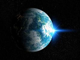 3D space background with fictional planet photo