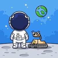 Little Astronaut on the sky with moon and rocket in cute line art illustration style vector
