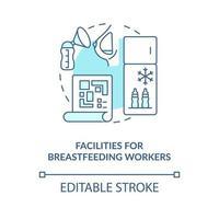 Instalaciones para trabajadores de la lactancia materna icono concepto azul vector