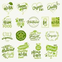 Set of labels and badges for organic food and drink, and natural products vector