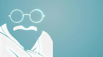 Gandhi Jayanti 2nd October concept animation with mahatma Gandhi portrait. mahatma Gandhi sketch 4k animation video