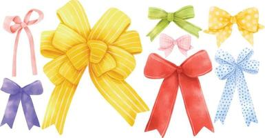 Set of gift ribbon bow illustrations hand painted watercolor styles vector