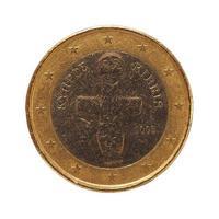 Moneda de 1 euro, unión europea, chipre aislado sobre blanco foto