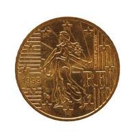 Moneda de 50 centavos, unión europea, francia aislado sobre blanco foto