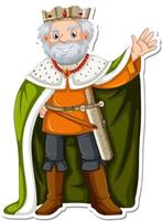 King with green robe cartoon character sticker vector