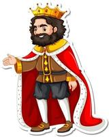 King with red robe cartoon character sticker vector