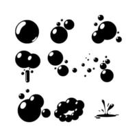 Black paint blob, water bubbles, Brushes splatter shapes, current paint stains, liquid dripping melted. vector