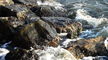 Sea Waves Hitting Rocks video
