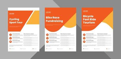 bicycle tour flyer design bundle template. bicycle rental service poster leaflet design 3 in 1 bundle. bundle, 3 in 1, a4 template, brochure design, cover, flyer, poster, print-ready vector
