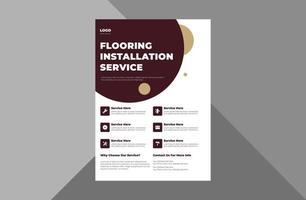flooring and tiling company flyer design. modern contemporary poster leaflet design. a4 template, brochure design, cover, flyer, poster, print-ready vector