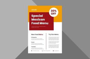 Mexican food menu flyer design template. special Mexican food restaurant flyer design template. a4 template, brochure design, cover, flyer, poster, print-ready vector