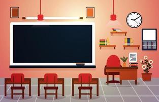Class School Nobody Classroom Blackboard Table Chair Education Illustration vector