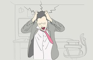 Depressed man at work. Hand drawn style vector. vector