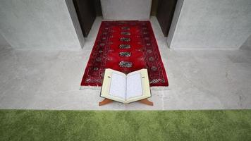 A slow motion footage showing a Quran lying on a quran holder in front of a prayer niche-the shot is approaching the quran video