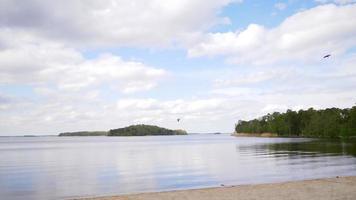 une mer calme à la plage et un beau ciel bleu nuageux, avec un parc à l'arrière. les oiseaux volent dans le ciel. simplement journée et bonnes vacances video